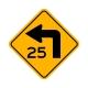 W1-1AL Left Turn/Advisory Speed
