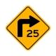 W1-1AR Right Turn/Advisory Speed