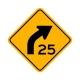 W1-2AR Right Curve/Advisory Speed